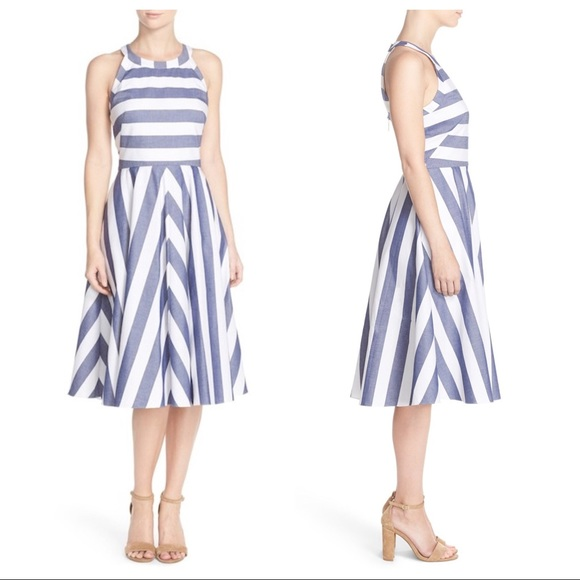 86f15541fc7a ELIZA J Striped Nautical Cotton Fit   Flare Dress